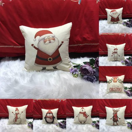 Throw Pillow Covers Merry Christmas Style ,Tree Decorative Cushion Cases Outdoor Pillowcases Home Decor ()