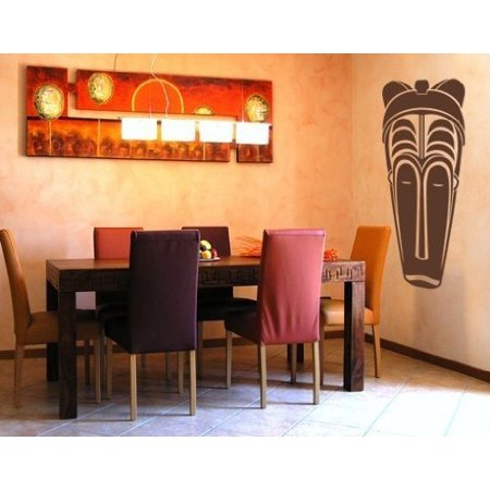 - African Mask III Wall Decal - wall decal, sticker, mural vinyl art home decor - 3751 - White, 10in x 28in