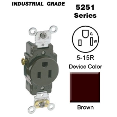 Leviton 5251 Single Receptacle Industrial Grade 5-15R 15A 125V Side Wired - (Amp 125v Single Locking Receptacle)