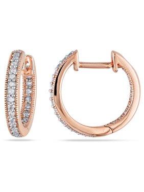 ac2b96000 Product Image 1/4 Carat T.W. Diamond 14kt Pink Gold Clip-Back Hoop Earrings