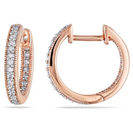 1/4 Carat T.W. Diamond 14kt Pink Gold Clip-Back Hoop Earrings
