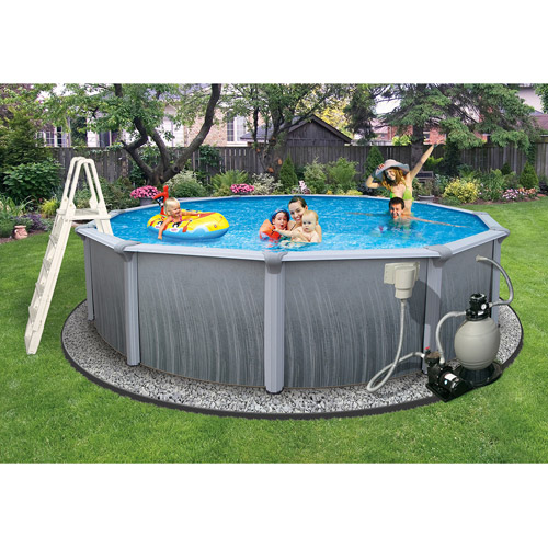 "Blue Wave Round 27' x 52"" Deep Martinique 7"" Top Rail Metal-Walled Swimming Pool"