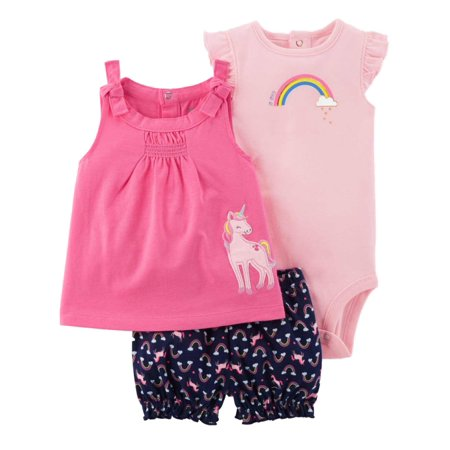 Carters Infant Girls Pink Unicorn Baby Outfit Bodysuit Shirt & Shorts Set (Accesorios Carteras)
