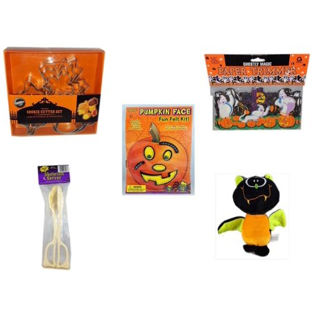 Halloween Fun Gift Bundle [5 Piece] - Wilton Autumn 8-Piece Cookie Cutter Set - Ghostly Magic Paper Trimmer 3.75 in x 9 ft. - Darice Pumpkin Face Fun Felt Kit - Stitches - Skeleton Server  - Plush A