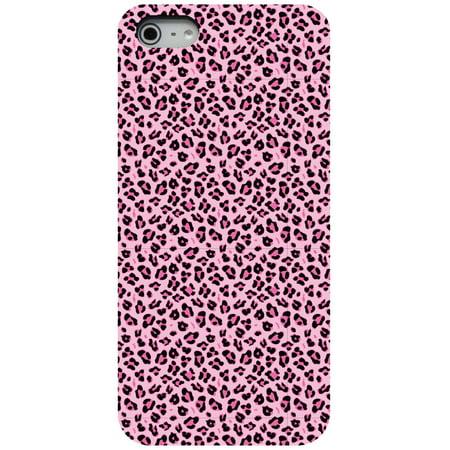 7c80c4e63ae6 CUSTOM Black Hard Plastic Snap-On Case for Apple iPhone 5   5S   SE - Black  Pink Leopard Skin Spots - Walmart.com