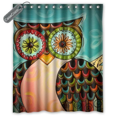 GreenDecor Coco Superior Owl Waterproof Shower Curtain Set with Hooks Bathroom Accessories Size 60x72 inches ()