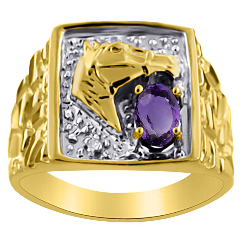 Mens Diamond & Amethyst Ring 14K Yellow or 14K White Lucky Horse Head by Elie Int.