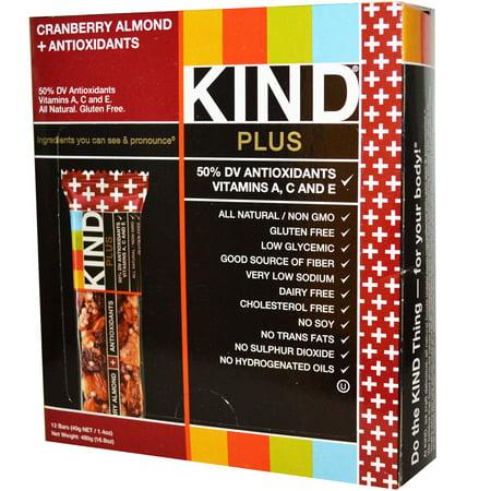 KIND Bars, Kind Plus, Cranberry Almond + Antioxidants Bars, 12 Bars, 1.4 oz (40 g) Each(pack of 4)