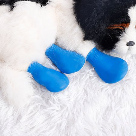 4 Pcs Dog Rain Shoes Water Wear Resistant for Pet Boots Outdoor Walking Paw Protector Blue,