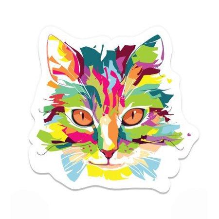 Cat Colorful Design Art - Vinyl Sticker Waterproof Decal Sticker 5