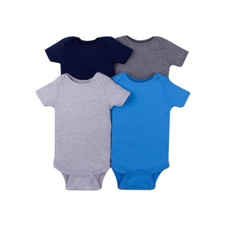 Little Star Organic Short Sleeve Solid Bodysuits, 4-pack (Baby Boys)
