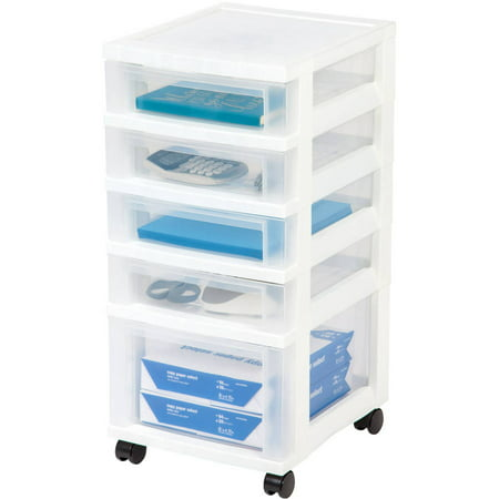 IRIS 5-Drawer Rolling Storage Cart, White