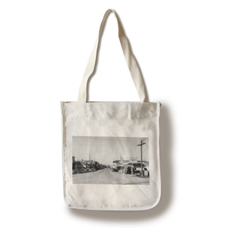 East Stanwood  Washington   Street Scene  View Of A Texaco Gas Station   Vintage Photograph  100  Cotton Tote Bag   Reusable