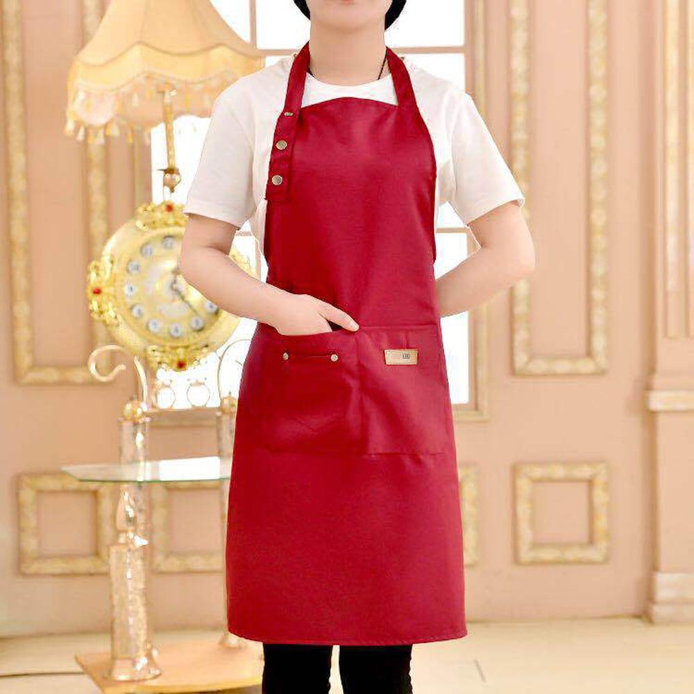 Women Men Chef Kitchen Restaurant Cooking Bib Cotton Apron Dress Gift 2 Pockets