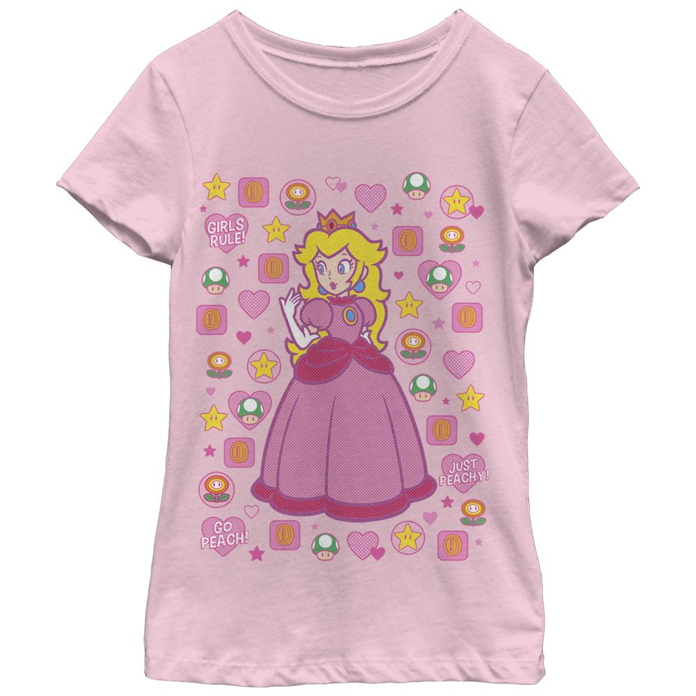 Nintendo Girls\' Princess Peach Girls Rule T-Shirt - Walmart.com