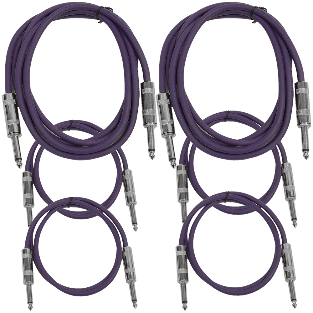 "Seismic Audio  6 Pk of Purple 1/4"" TS Patch Cables  - Two 6 ft Two 3 Ft, Two 2 ft Purple - SASTSX-6C-Purple"
