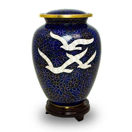 Cloisonne Urn - Brass Cremation Urn For Human Ashes - Large 200 Pounds - Dark Blue Cloisonne Going Home Doves