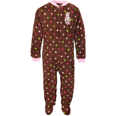 Dr Seuss Pajamas For Toddlers (Dr. Seuss - Cat Chat Polka-Dot Brown Toddler Footed)