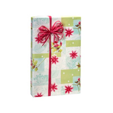 Floral Blocks Birthday / Special Occasion Gift Wrap Wrapping Paper-16ft Blue Birthday Block