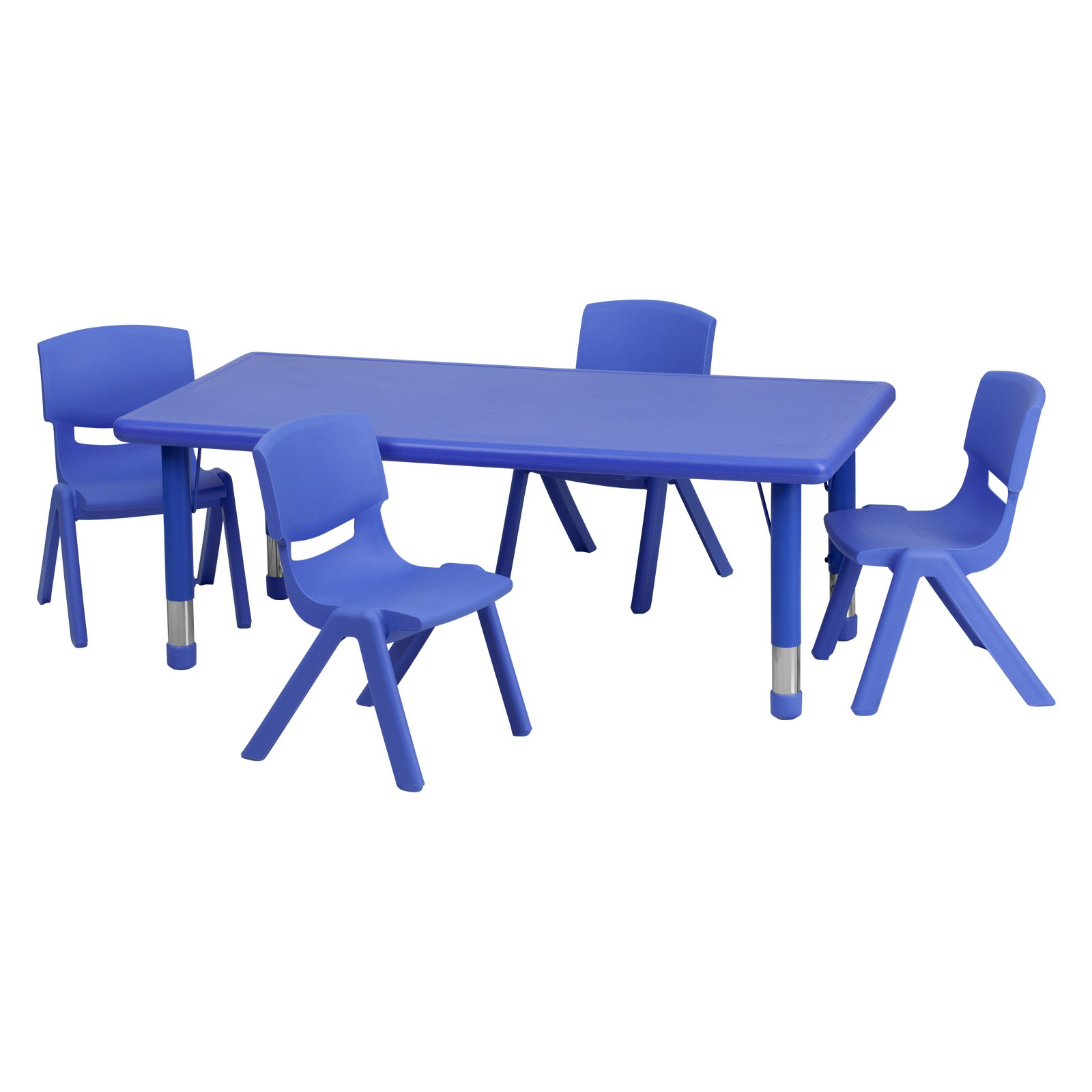 Flash Furniture 24''W x 48''L Adjustable Rectangular Plastic Activity Table Set in Multiple Colors with 4... by Flash Furniture