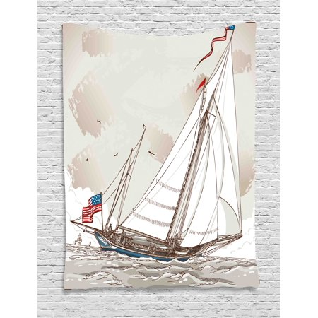Vintage Tapestry, Illustration of a Retro View of Antique American Yacht with Flags Ocean, Wall Hanging for Bedroom Living Room Dorm Decor, 40W X 60L Inches, Light Grey Tan White, by Ambesonne ()