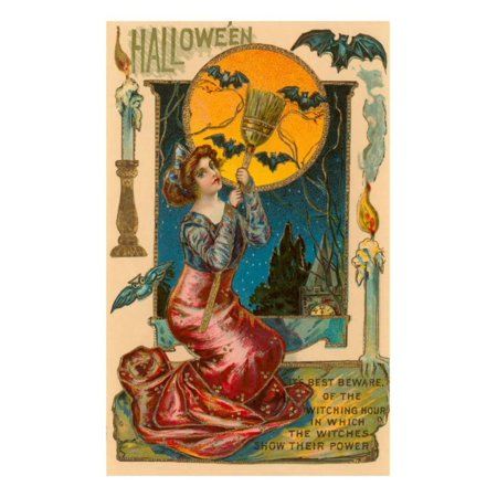 Halloween, Attractive Witch with Poem Print Wall Art](20 Line Halloween Poem)