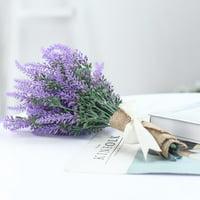 "Efavormart 4 Bushes 14"" Tall Faux Lavender Stems Artificial Flower Bouquet For Wedding Decoration"
