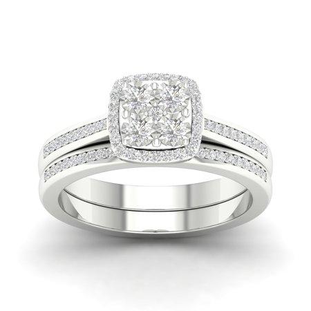 (Imperial 1/4Ct TDW Diamond S925 Sterling Silver Cushion Shape Halo Bridal Set (I-J, I2))