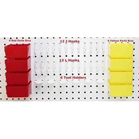 - 38 pc Peg Hook Kit & Plastic Bin Pegboard Assortment Organizer
