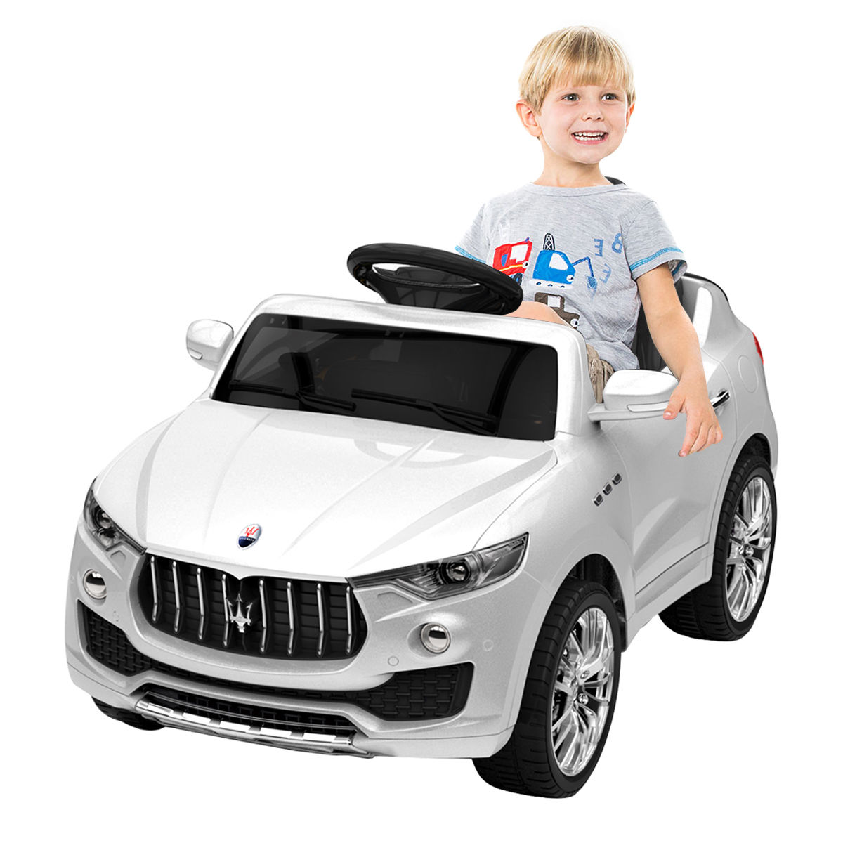 Costway 6V Licensed Maserati Kids Ride On Car RC Remote Control Opening Doors MP3 Swing White