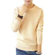 Man Casual Pullover Crew Beck Braided Design Beige Sweater S