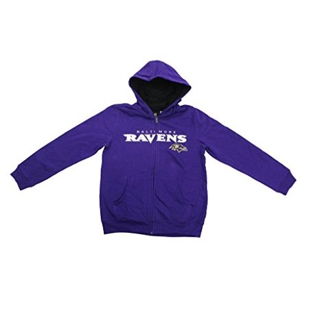 Team Apparel Youth Boy's Embroidered Baltimore Ravens Hooded Sweat Jacket - Raven Without Hood