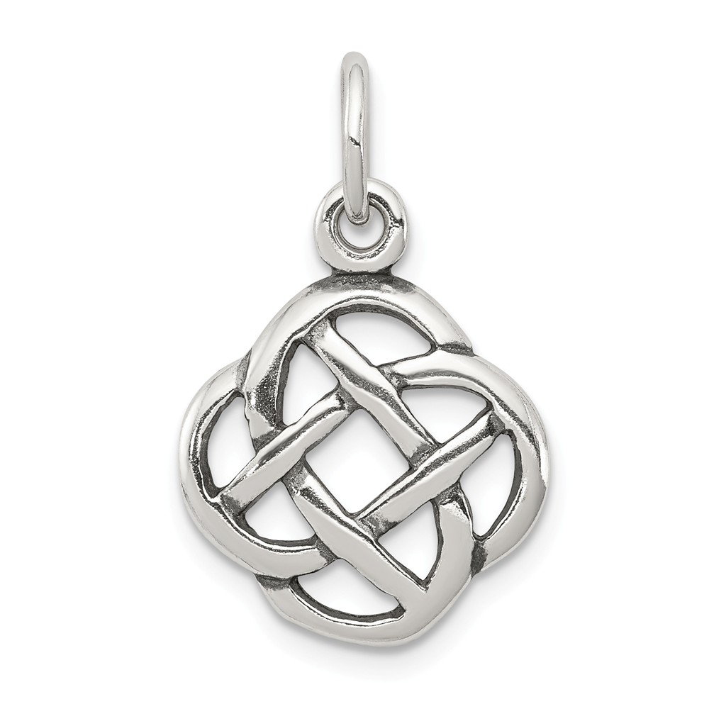 Sterling Silver Antiqued Celtic Knot Charm (0.9in long x 0.6in wide)