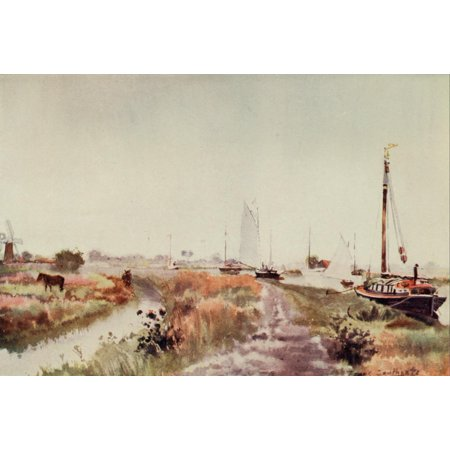 Norfolk Broads 1906 Below Potter Heigham Canvas Art - Frank Southgate (24 x 36)