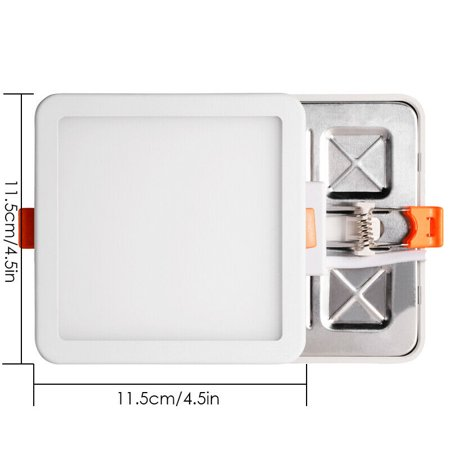 8W Square LED Recessed Ceiling Panel Down Light Free Hole Cut-out Cool White Square Hole Light