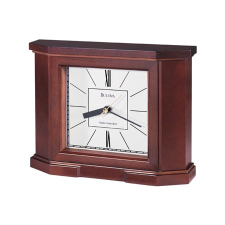 Bulova Altus Radio Controlled Mantel Clock - Mahogany Finish - White Dial