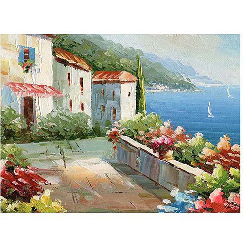 "Trademark Fine Art ""Mediterranean View"" Canvas Art by Rio"