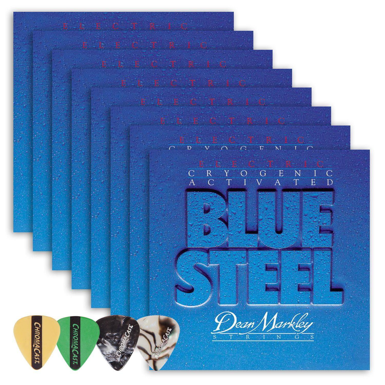 Dean Markley 2556 Blue Steel Regular Gauge Electric Guitar String(.010-.046) 8 Pack, with ChromaCast 4 Pick Sampler