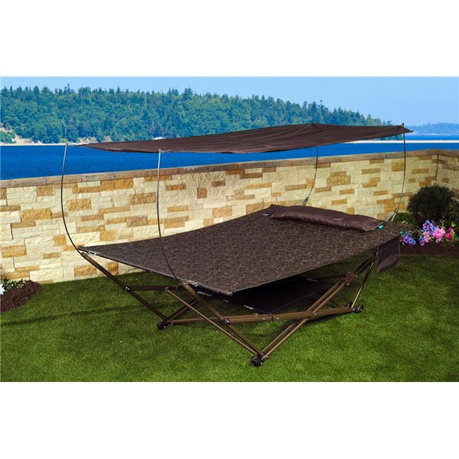 Bliss Hammocks Q-807WBJr 2 Person Stow EZ Hammock & Collapsible Stand with Pillow  Brown Jacquard
