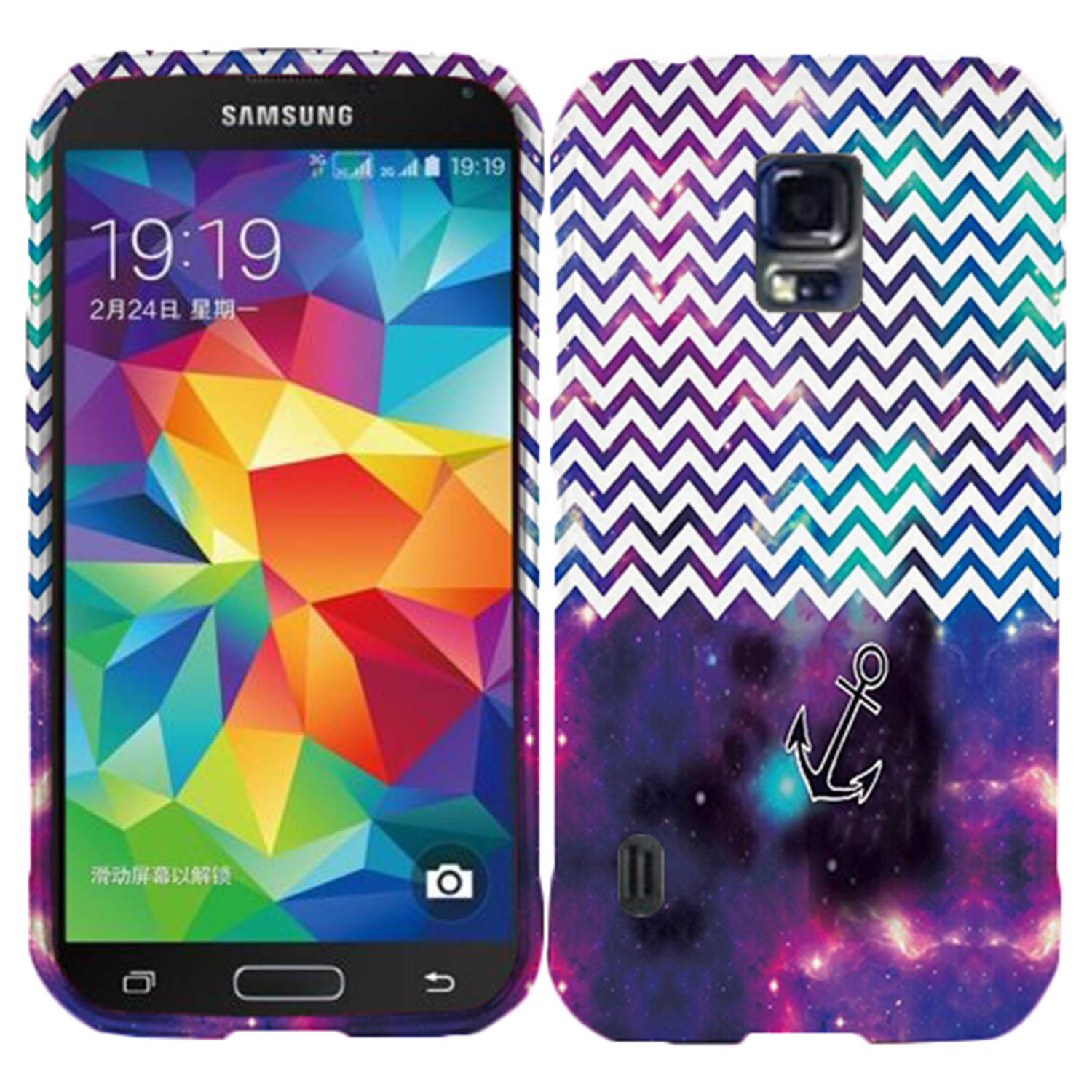 Purple Anchor Chevron Case for Samsung Galaxy S5 Active G870 Designer Cover Protector Snap on Shield Hard Shell Phone Case