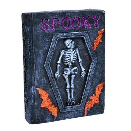 Spooky Skelleton Coffin Bat Stone Book Table Decoration, Grey Purple Orange