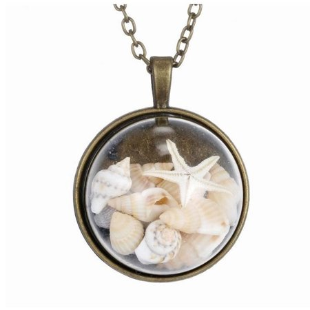 BEACH GIRL Sea Shells In Glass Locket Pendant Necklace - Beach Necklaces