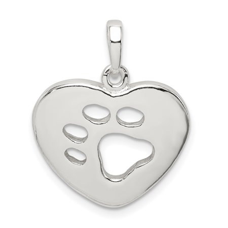 Animal Sterling Silver Necklace (925 Sterling Silver Heart Paw Print Pendant Charm Necklace Animal Dog Gifts For Women For Her )