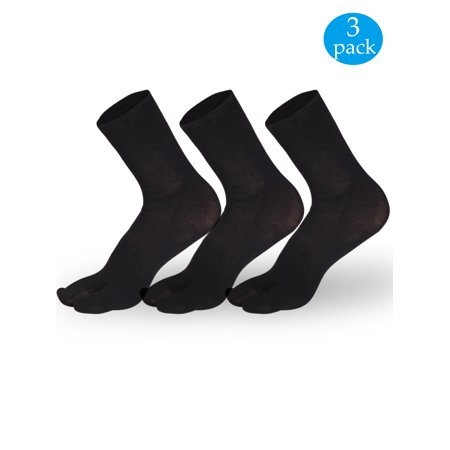 Split Toe Socks - NK Fashion 3 Pairs Unisex Japanese Kimono Flip Flop Sandal Split Toe Socks Tabi Ninja Geta Socks Black