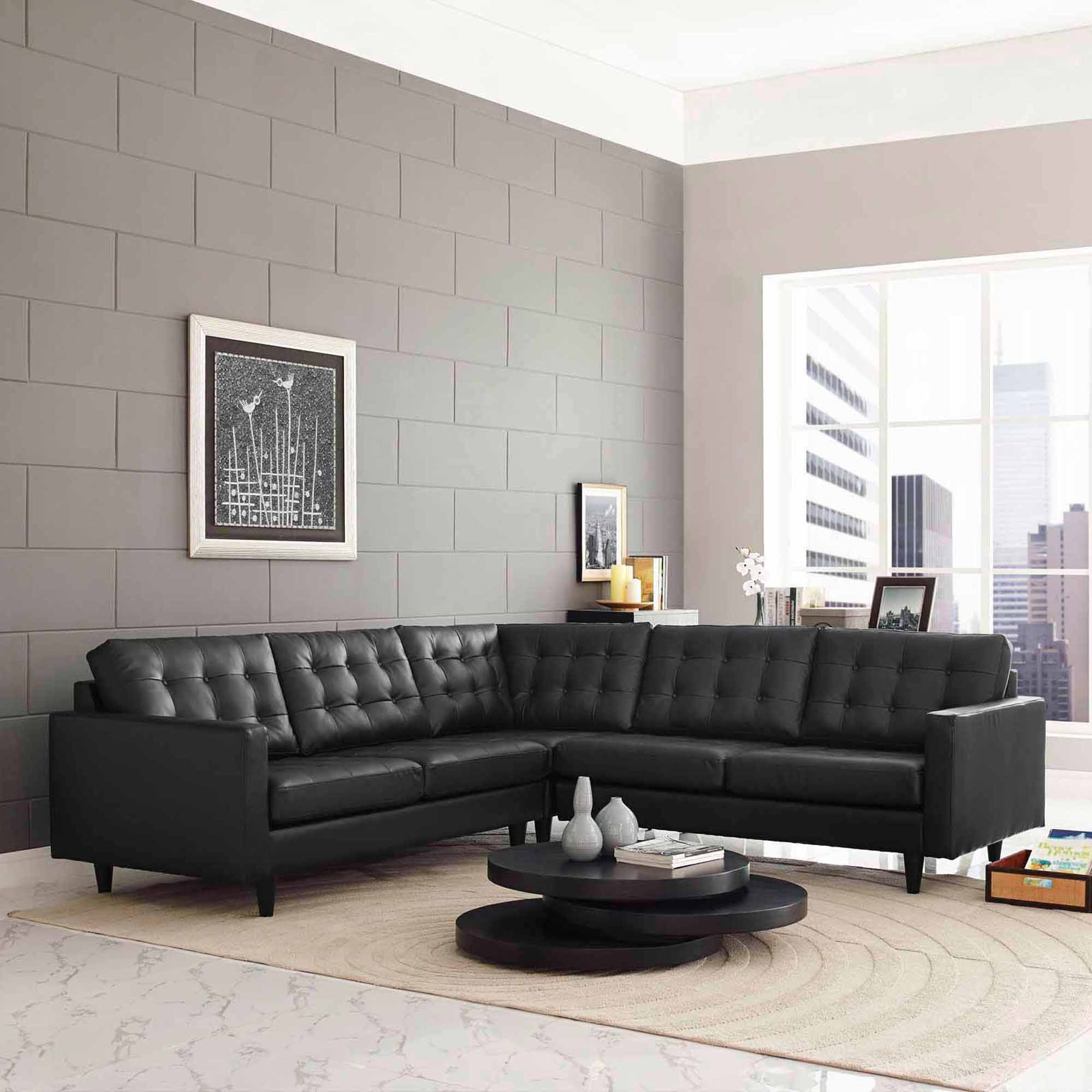 Modway Empress 3 Piece Leather Sectional Sofa Set Multiple Colors