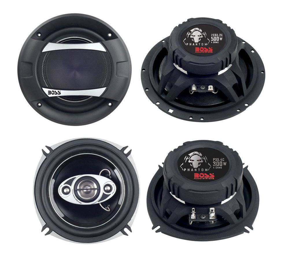"2)New Boss PC65.2C 6.5"" 500W 2-Way +2) Boss P55.4C 5.25"" 300W 4-Way Car Speakers"