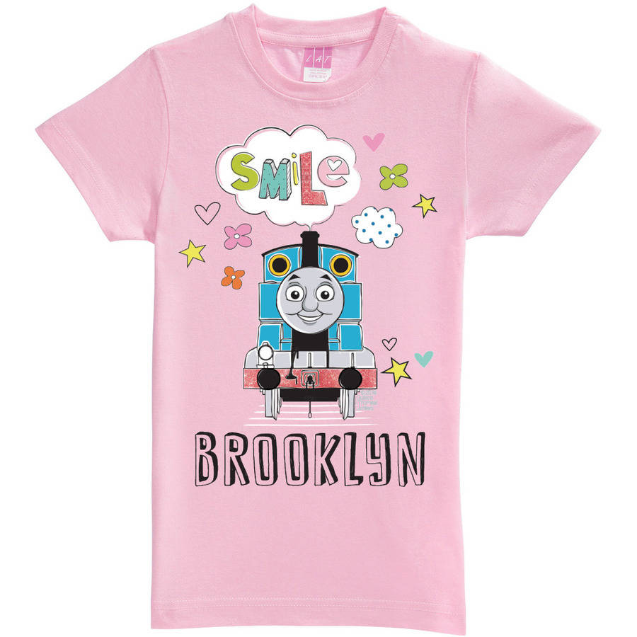 Personalized Thomas and Friends Pink Girl's Fitted Tee
