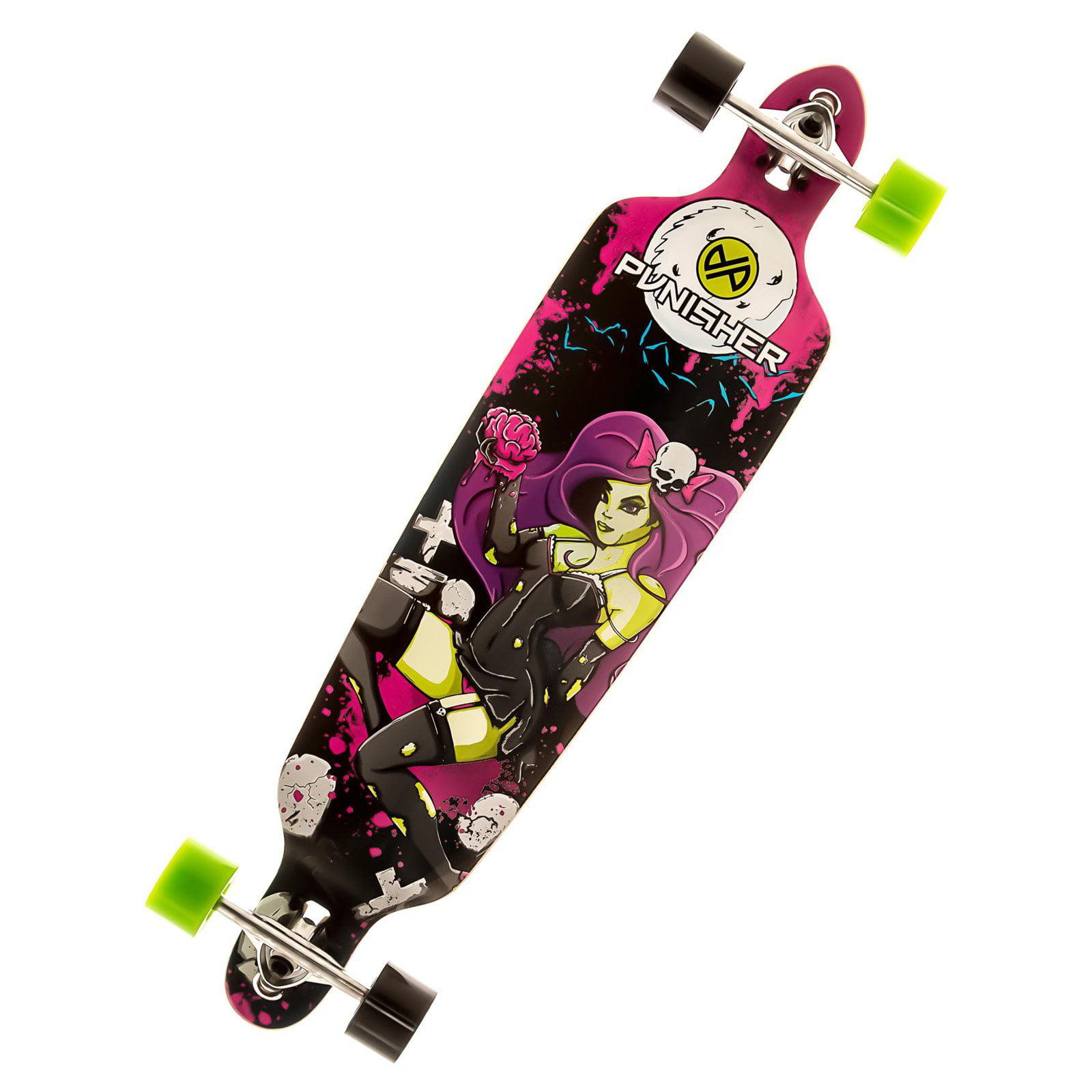 "Punisher Skateboards Zombie 40"" Longboard, Double Kick with Drop Down Deck"