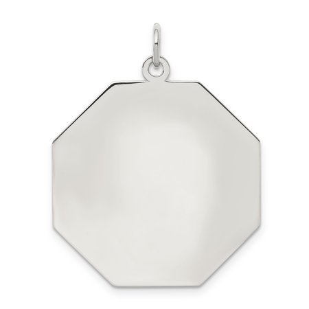 SS Rh-plt Engraveable Octagon Polished Front/Satin Back Disc Charm QM427/27 (33mm x 28mm) - image 2 of 2