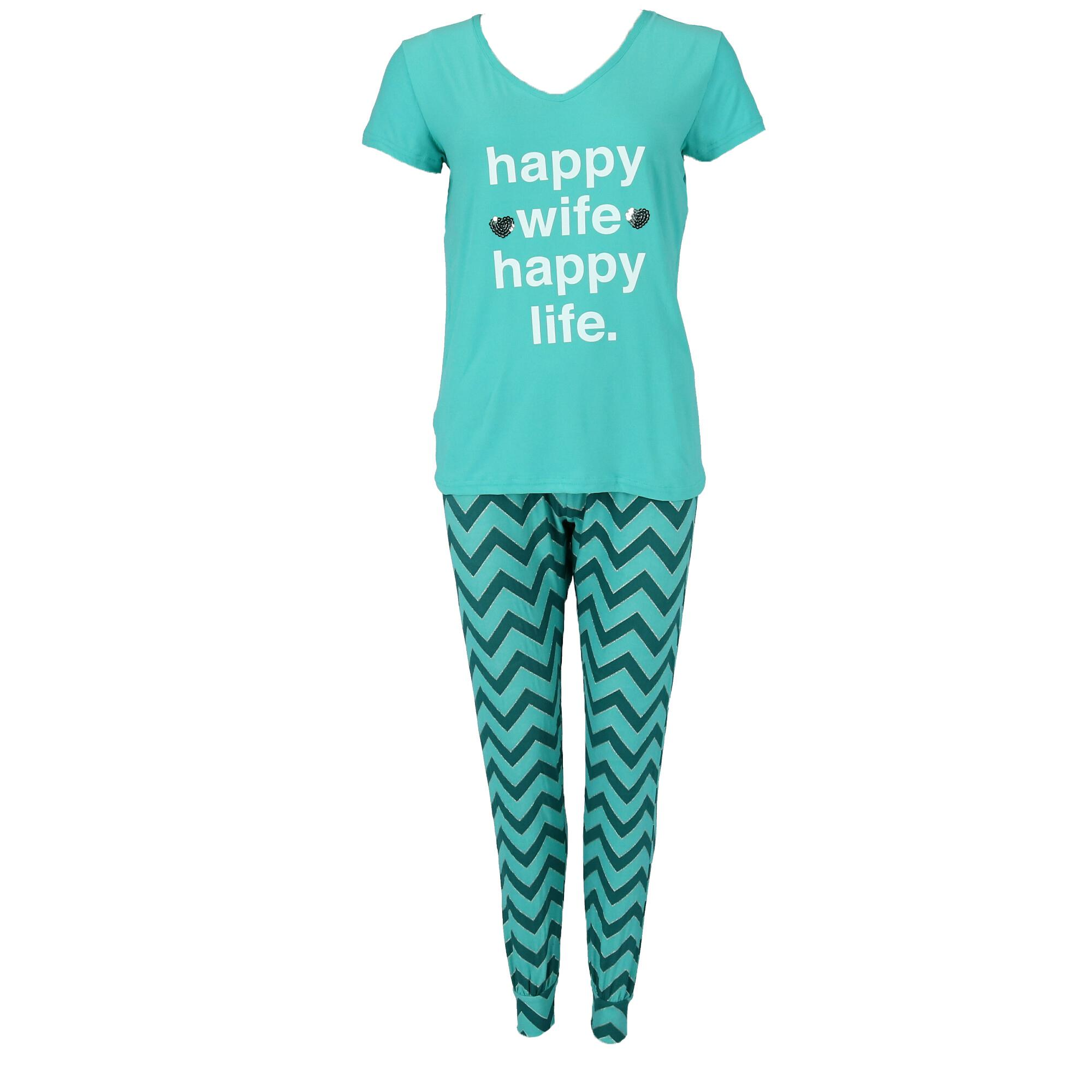 Not a Morning Person Women's Plus Size Happy Wife Tee and Joggers Pajama Set - image 4 of 4